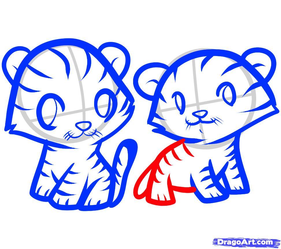 Как нарисовать двух тигрят