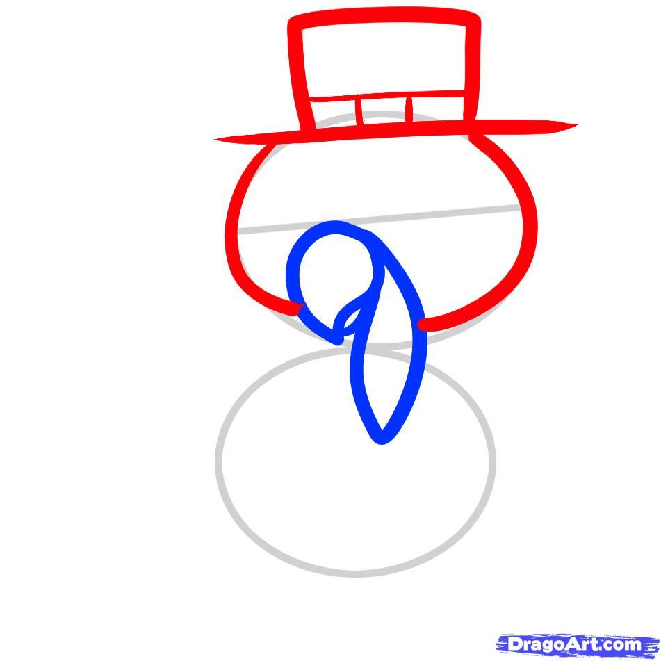 Рисуем индюшонка в шляпе ребенку - шаг 3