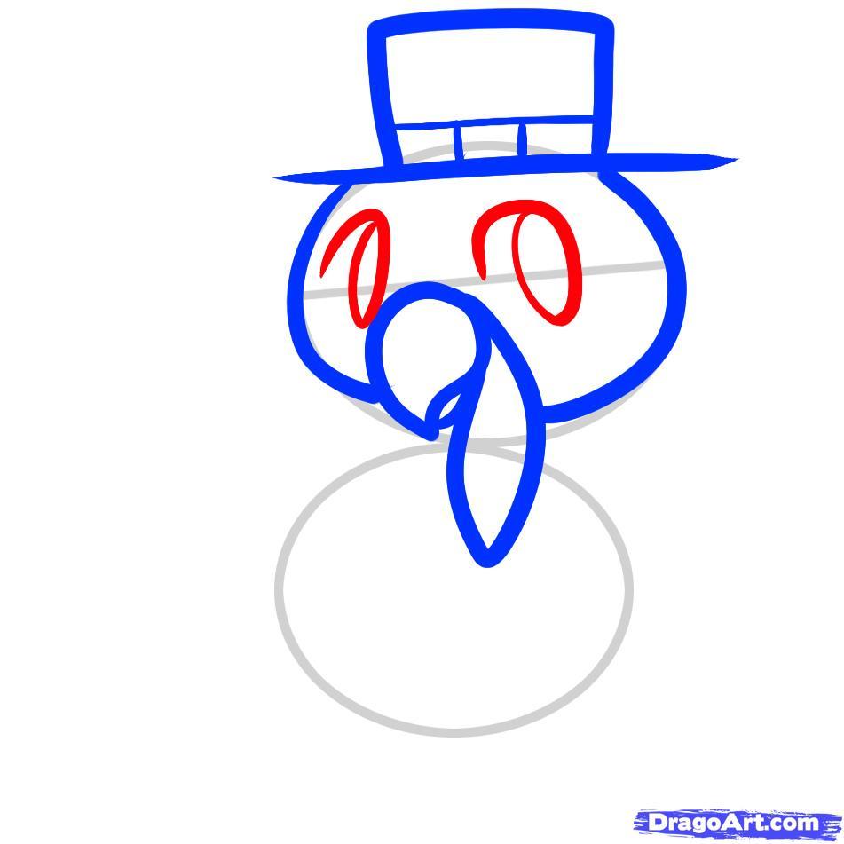 Рисуем индюшонка в шляпе ребенку - шаг 4