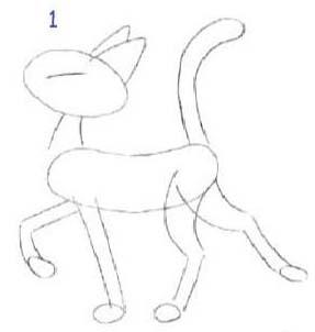 Как просто нарисовать кота - шаг 1