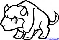 маленького буйвола ребенку карандашом