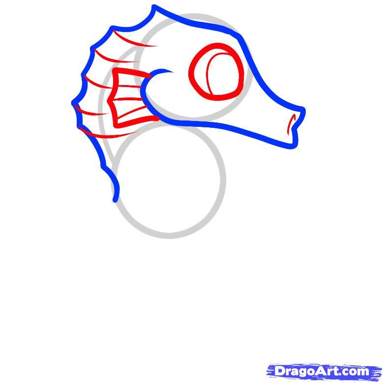 Рисуем маленького морского конька ребенку - шаг 3
