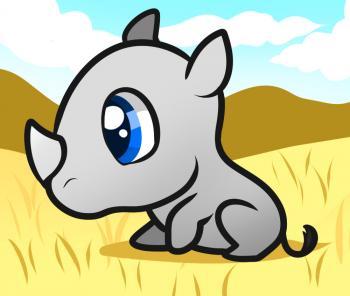 Рисуем маленького носорога ребенку