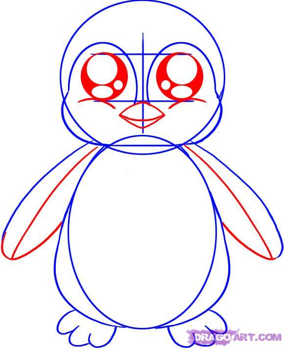 Рисуем маленького пингвинёнка - шаг 3