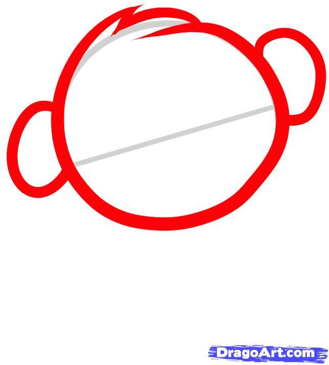 Рисуем обезьяну ребенку - шаг 2