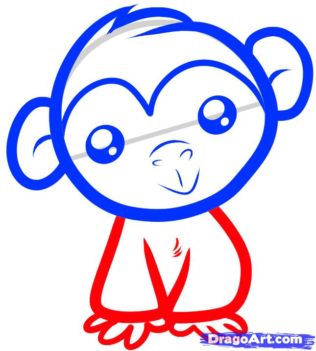 Рисуем обезьяну ребенку - шаг 4