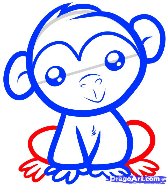Рисуем маленького Шимпанзе ребенку