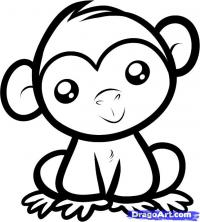 маленького Шимпанзе ребенку карандашом