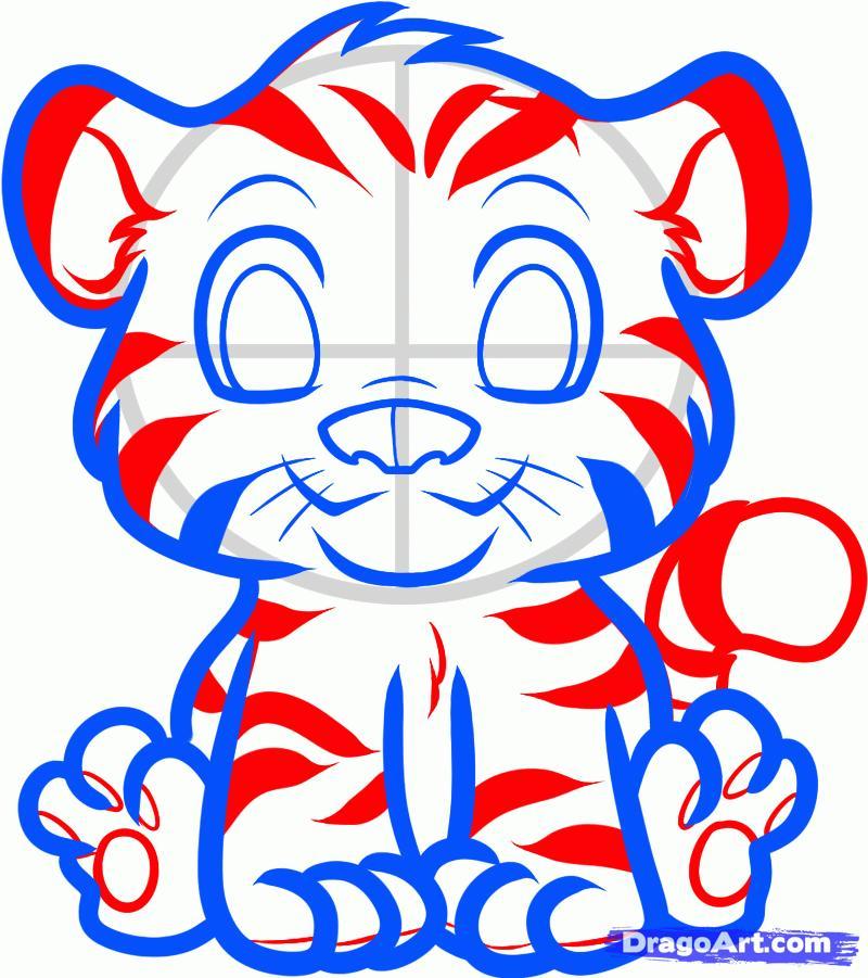 Рисуем тигра   для детей - шаг 5