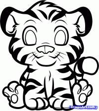 маленького тигрёнка карандашом