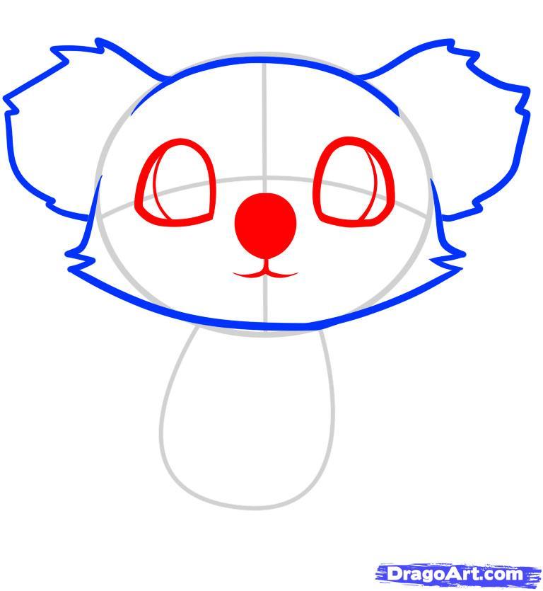 Рисуем маленькую коалу на дереве ребенку - шаг 4