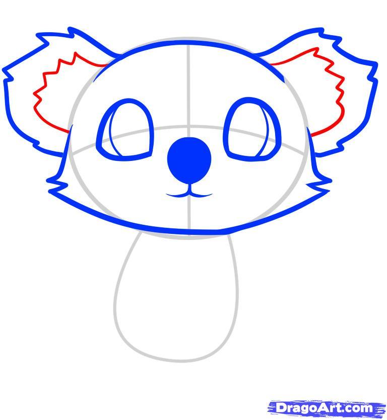 Рисуем маленькую коалу на дереве ребенку - шаг 5