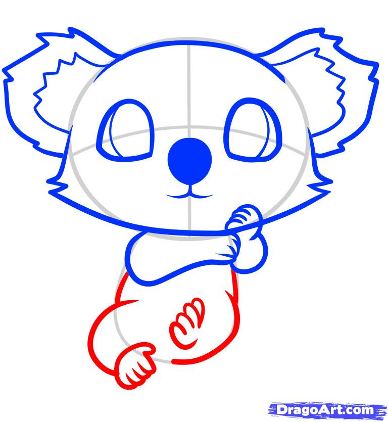 Рисуем маленькую коалу на дереве ребенку - фото 7