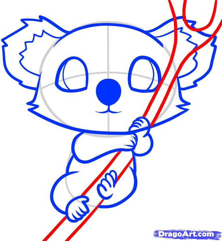 Рисуем маленькую коалу на дереве ребенку - шаг 8