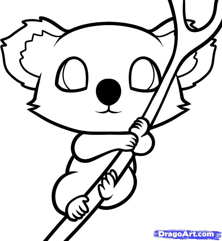 Рисуем маленькую коалу на дереве ребенку - фото 9