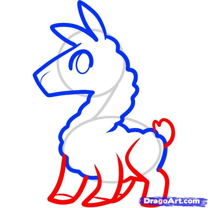 Рисуем маленькую ламу ребенку
