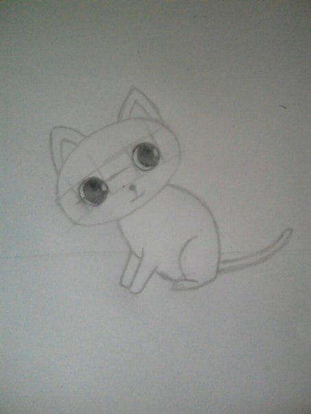 Рисуем милого кота  для детей - шаг 5