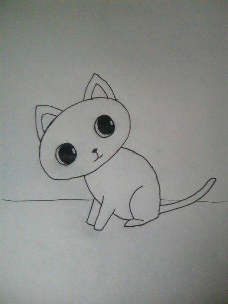 Рисуем милого кота  для детей - шаг 6