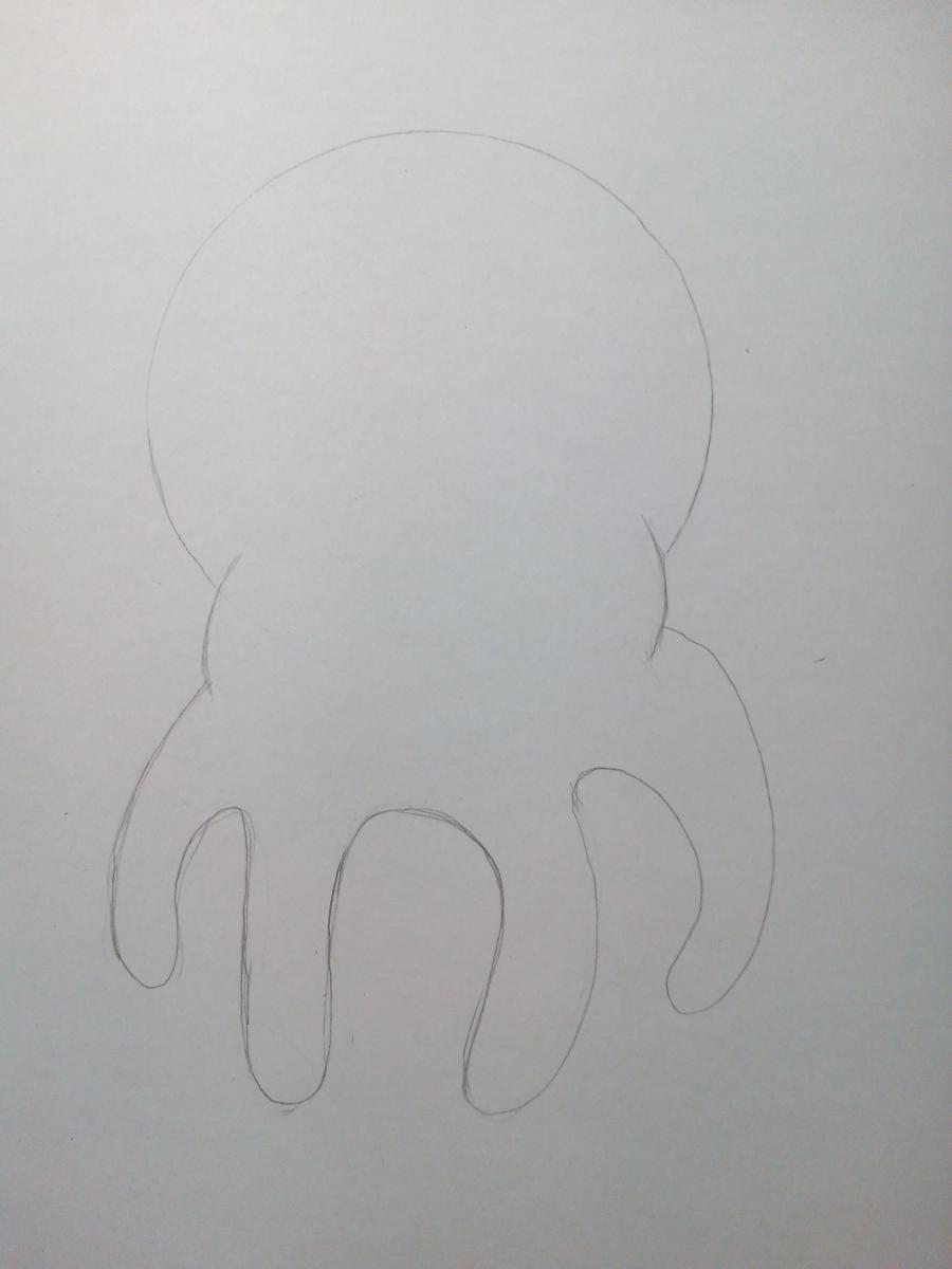 Рисуем милого маленького осьминога ребенку - шаг 3