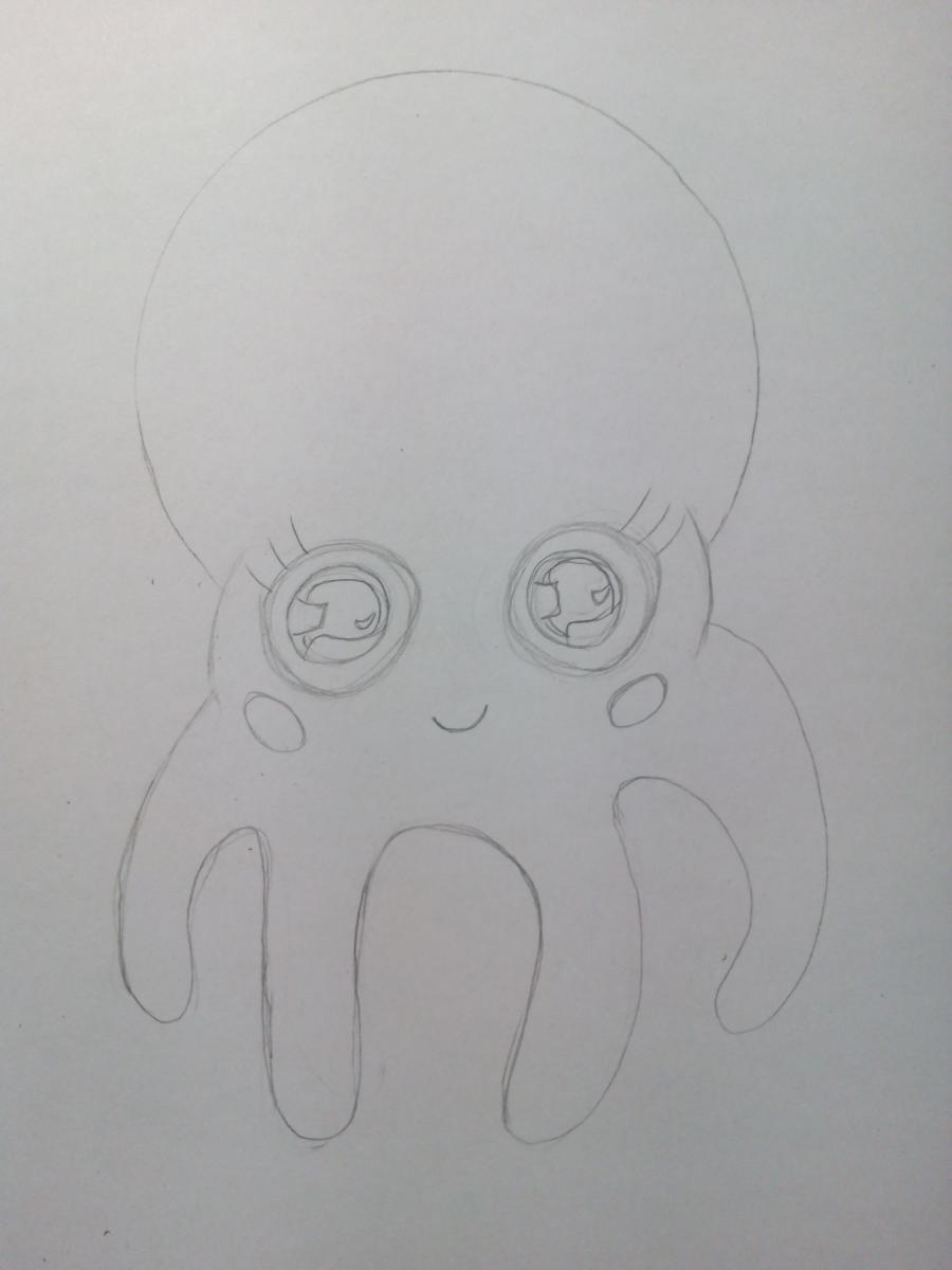 Рисуем милого маленького осьминога ребенку - шаг 4