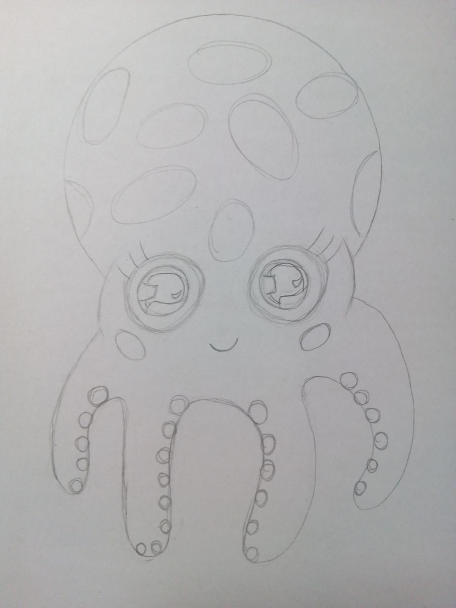 Рисуем милого маленького осьминога ребенку - шаг 5
