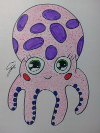 Рисунок милого осьминога ребенку