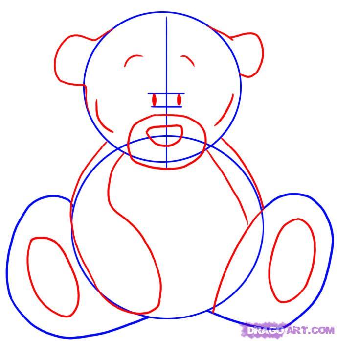 Рисуем мишку Тедди - шаг 2