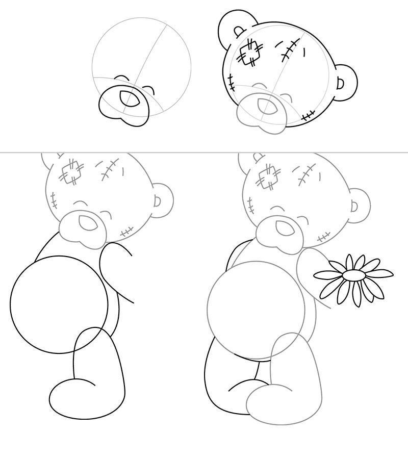 Рисуем мишку Тедди с цветком - шаг 1