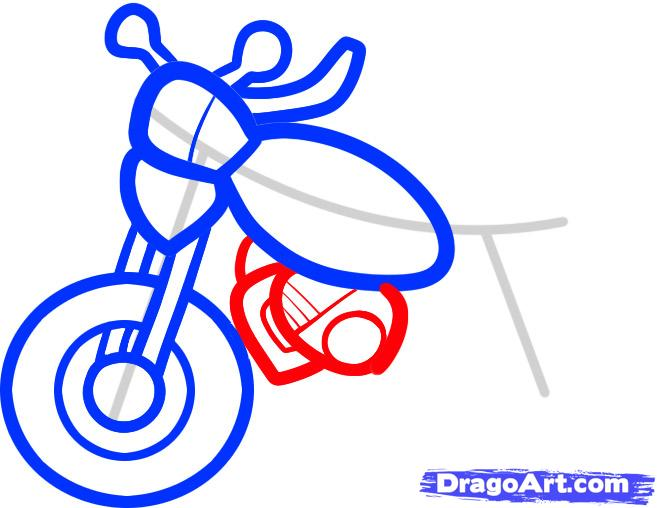 Рисуем мотоцикл ребенку - шаг 5