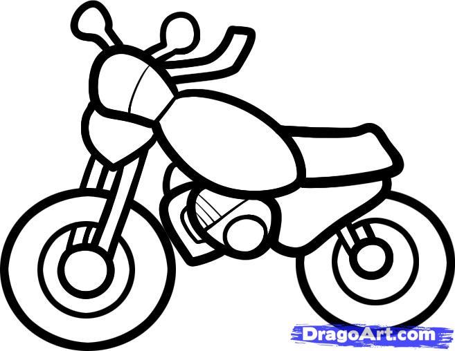 Рисуем мотоцикл ребенку - шаг 7