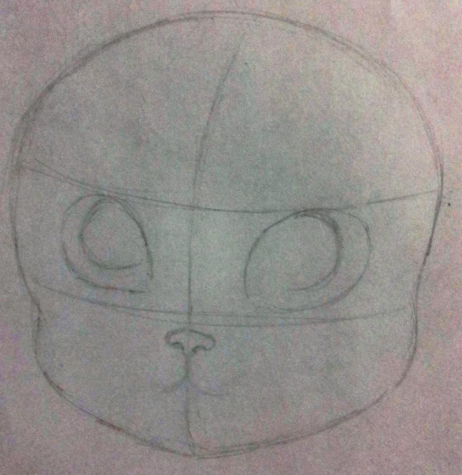 Рисуем мультяшную кошку для детей от 7 лет - шаг 1