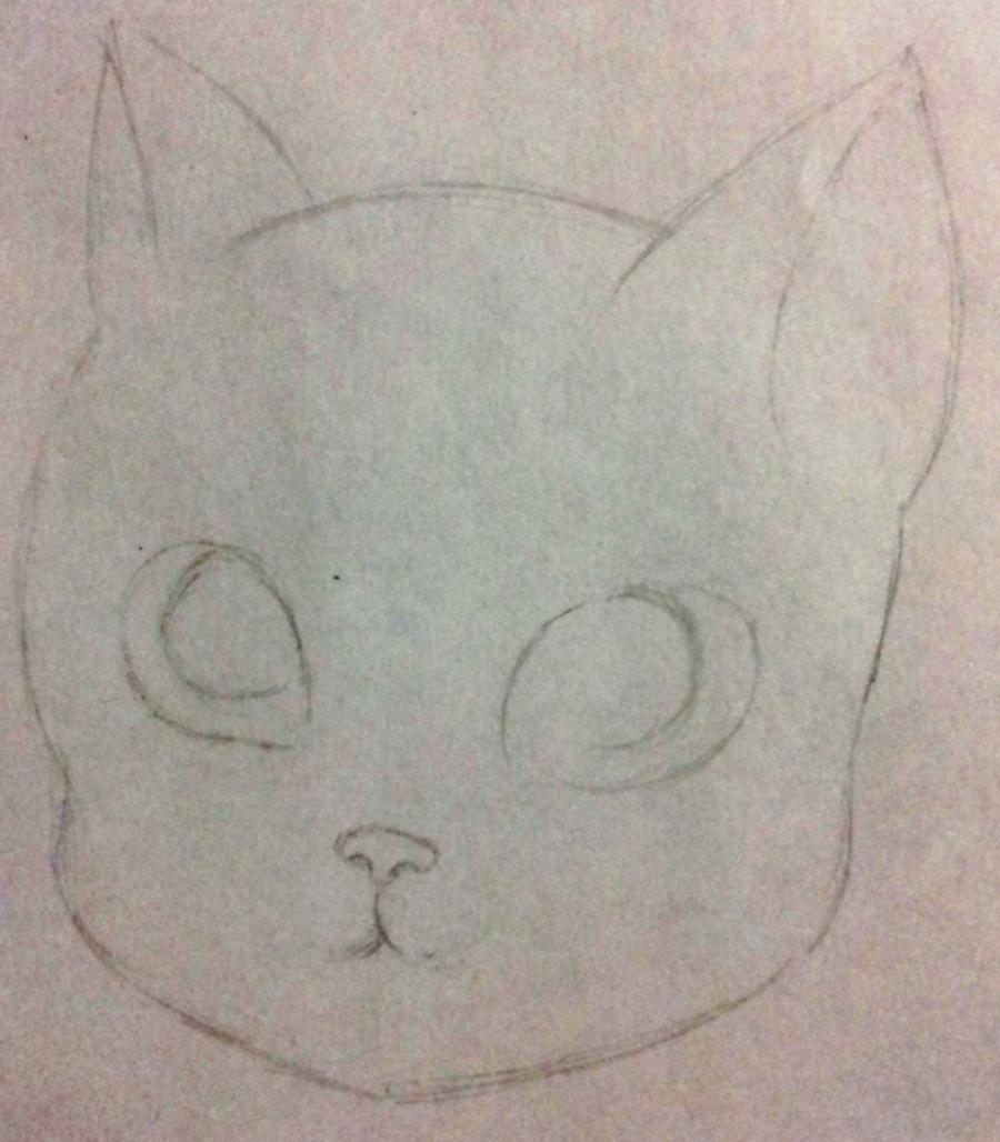 Рисуем мультяшную кошку для детей от 7 лет - шаг 2