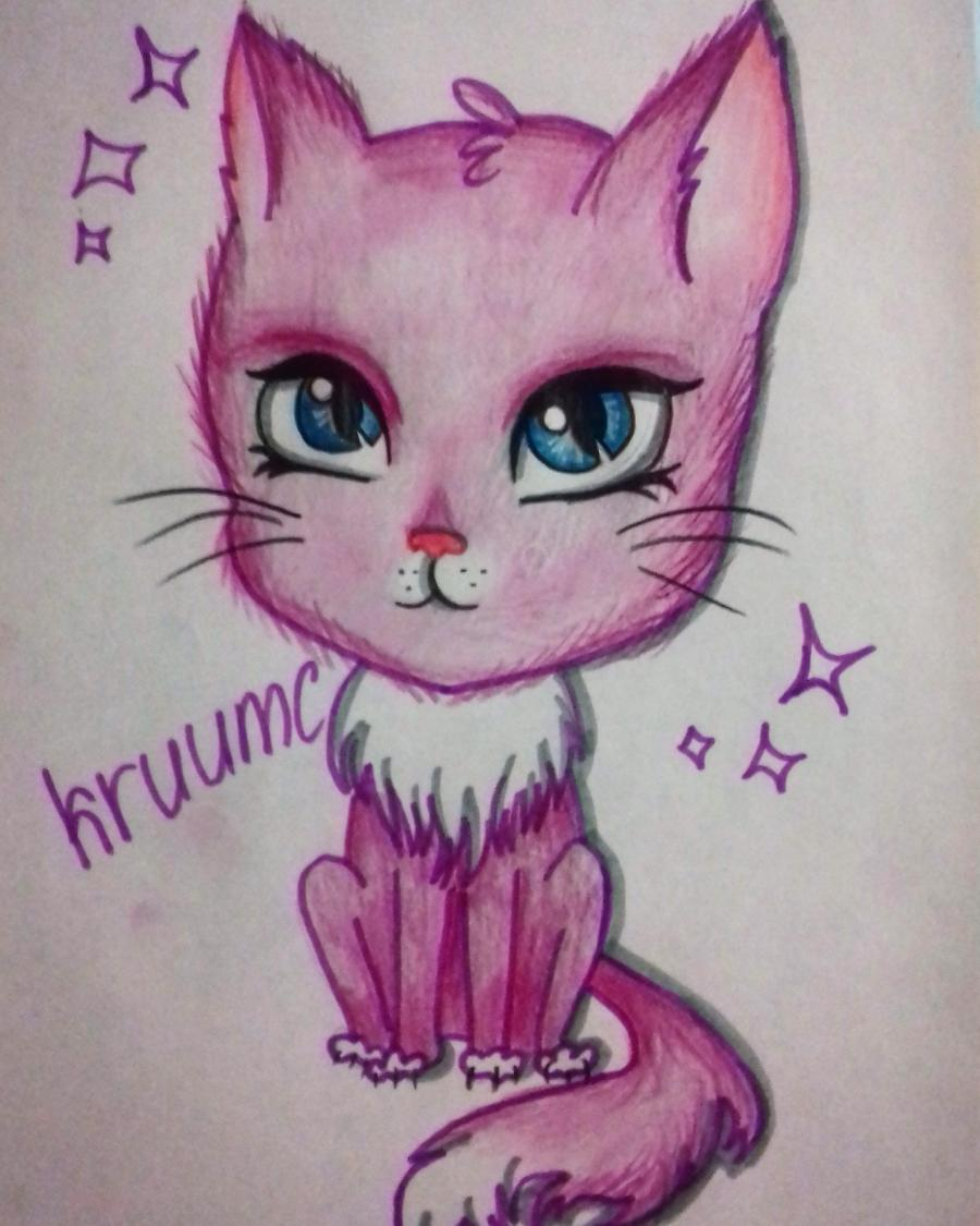 Рисуем мультяшную кошку для детей от 7 лет - шаг 9
