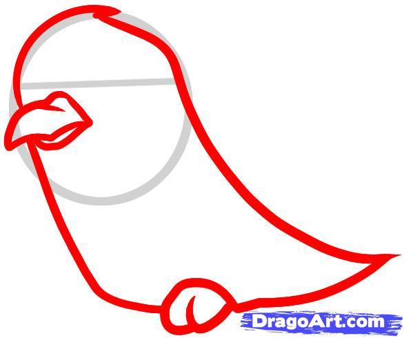 Рисуем мультяшную ворону ребенку - шаг 2