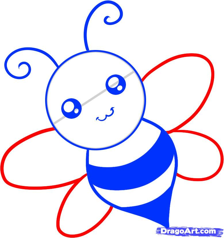 Рисуем пчелку ребенку - шаг 5