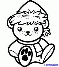рождественского медвежонка ребенку карандашом