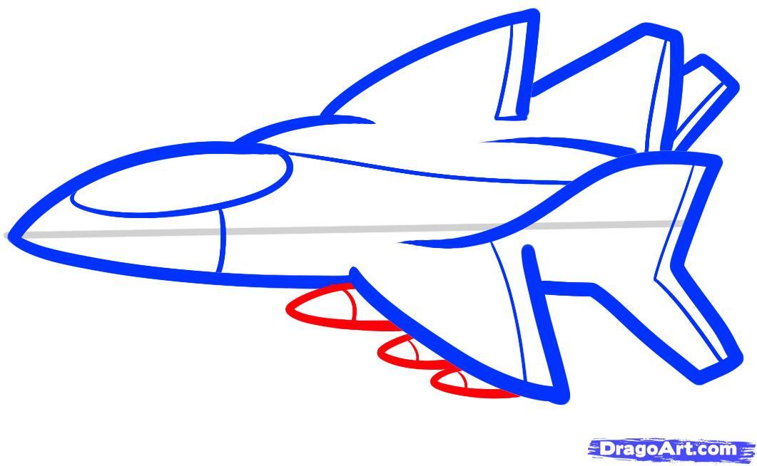 Рисуем самолет ребенку - шаг 6
