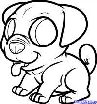 щенка мопса ребенку карандашом