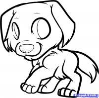 Как нарисовать щенка золотистого ретривера ребенку карандашом поэтапно