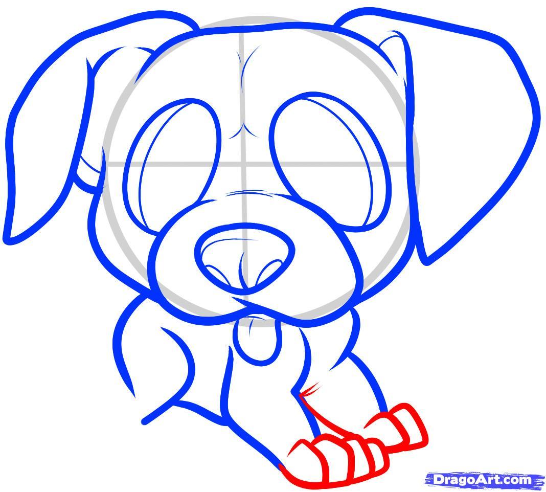 Рисуем щенка боксера ребенку - шаг 6