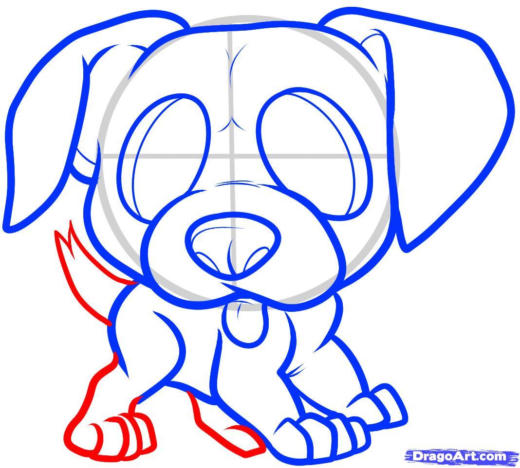 Рисуем щенка боксера ребенку - шаг 7