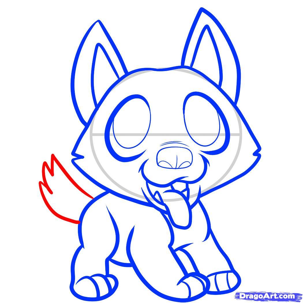 Рисуем щенка немецкой овчарки ребенку - шаг 7
