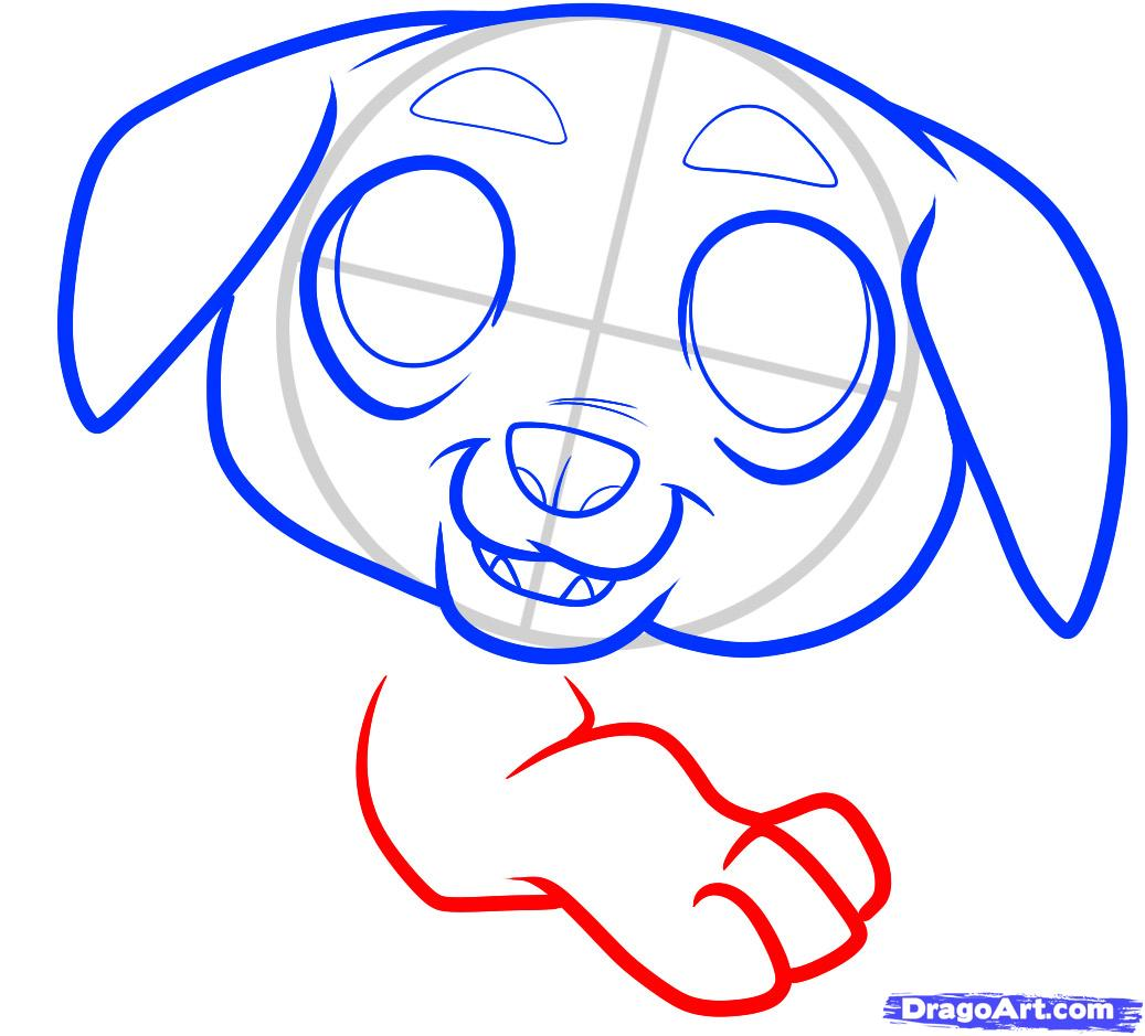 Рисуем щенка ротвейлера ребенку - шаг 5