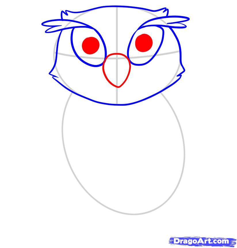 Рисуем сову ребенку - шаг 4