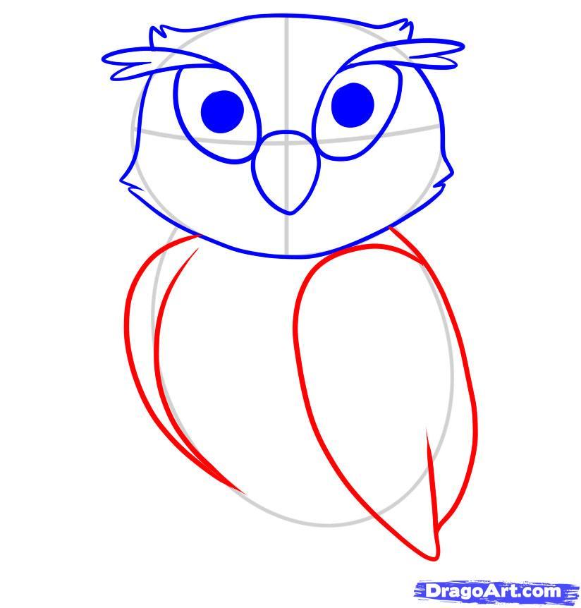 Рисуем сову ребенку - шаг 5