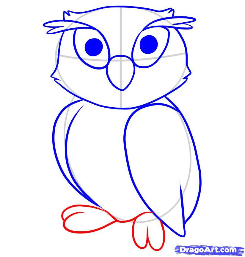 Рисуем сову ребенку - шаг 6