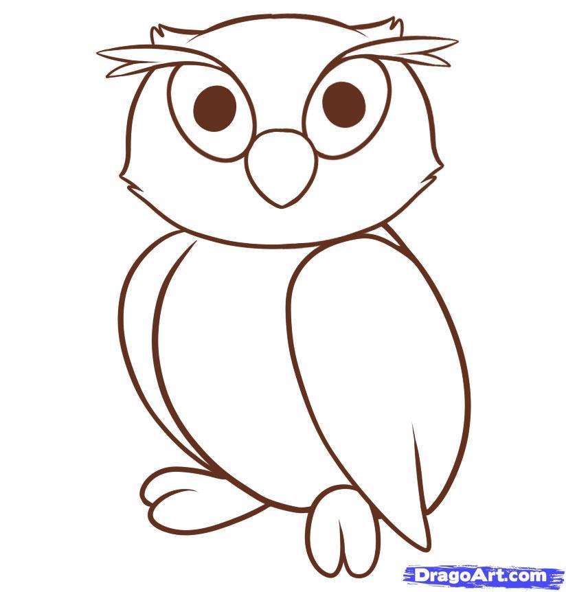 Рисуем сову ребенку - шаг 7