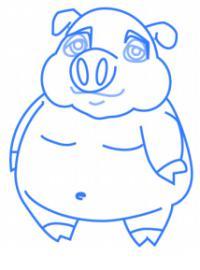 Как нарисовать свинью ребенку карандашом поэтапно