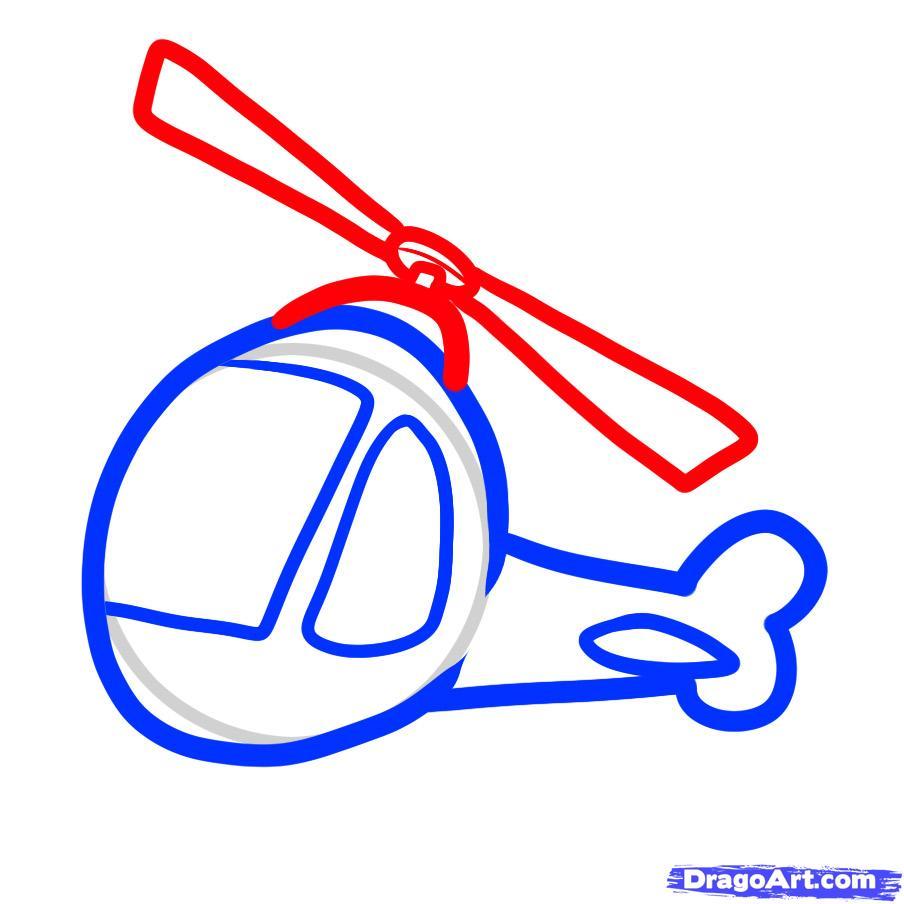 Рисуем вертолет ребенку