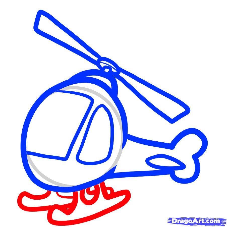 Рисуем вертолет ребенку - шаг 6